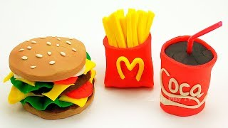 Play Doh McDonald's Hamburger Fries Cola Can Restaurant Playset   Learn Colors Play Doh Lesson 2