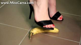 Miss Carra banana teasing and crush with high heel sandals (preview)