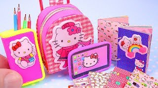 DIY Miniature Hello Kitty School Supplies ~ notebooks, tablet, etc