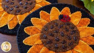 How to Make Sunflower Wooly Mug Rugs | A Shabby Fabrics Sewing Tutorial