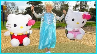 Giant Hello Kitty Jack and Jill Nursery Rhyme, Elsa at the Park, Jack and Jill Went Up The Hill Song