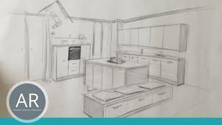Zeichnen lernen, Akadmie Ruhr, Tutorials, Raum in Perspektive - Küche Teil 1