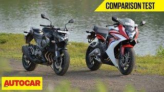 Honda CBR 650F VS Kawasaki Z800 | Comparison Test | Autocar India