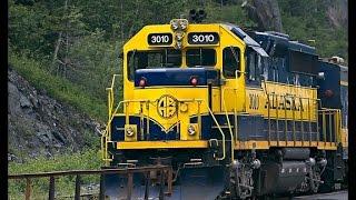 Alaskan Railroad Train Winding By Mountains - 1080p HD Aerial Video