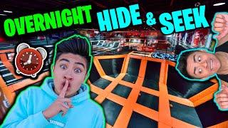 OVERNIGHT Hide and Seek Challenge in TRAMPOLINE PARK!