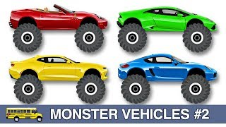 Learning Colors with Monster Vehicles for Kids #2  - Fun Monster Trucks, Monster Cars for Toddlers