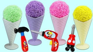 Play Foam Ice Cream Cones Surprise Toys Opening With Disney Mickey Mouse Mousekadoer Pretend Tools!