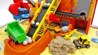 Tayo heavy equipment playset!! remicon excavator truck tower crane minibus Tayo