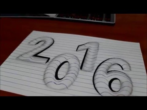 Xxx Mp4 How To Draw 3d Art Easy Line On Paper Trick Optical Illusion Happy New Year 2016 3gp Sex