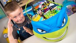 HUGE Teenage Mutant Ninja Turtles Surprise Bucket TMNT Super Heroes Toys for Boys Kinder Playtime
