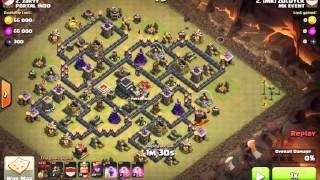 Clash of Clans - Strategi War Pentalalon (5 Lava 20 Balon) TH9 vs Max Deff TH9 Spiral Base