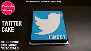 How to make fondant Twitter cake design:homemade bakery cake video:make my cake