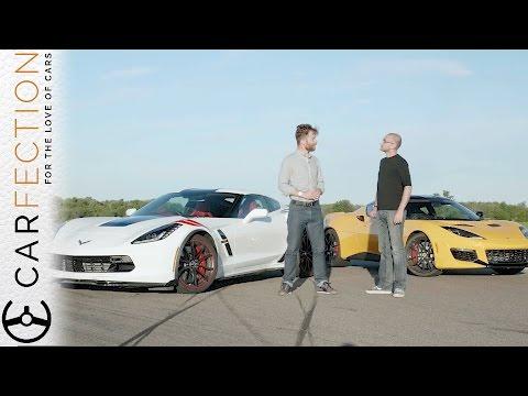 watch Lotus Evora 400 vs Corvette Grand Sport: UK vs USA - Carfection