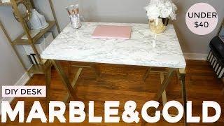 Gold and Marble DIY   UNDER $40 Desk   IKEA HACK