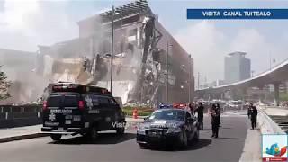 Momento exacto del derrumbe de la Plaza Artz Pedregal en Periférico
