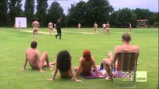 Streaker at nudist cricket