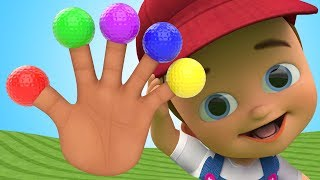 Learn Colors for Children with Baby Play MiniGolf Balls Finger Family Rhymes 3D Kids Educational