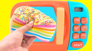 Toy Microwave Squishy Rainbow Cake Play Doh Learn Fruits & Vegetables with Velcro Toys for Kids