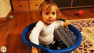 Cute Kid GLORIA Daily VLOG DAY 2 - Baby GLORIA Playing with MOMS MAKEUP Brushes