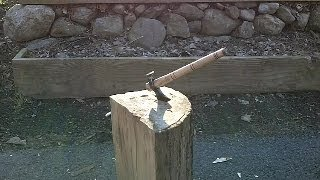 Blacksmithing Knifemaking - Hand Forged Bush Craft Ax Tomahawk From A Railroad Spike