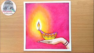 How to draw scenery of Diwali with Oil Pastels step by step