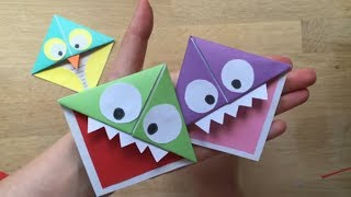 Easy Paper Monster & Owl Corner Bookmarks