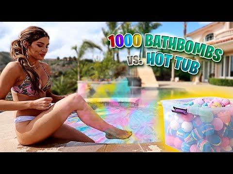DO NOT PUT 1 000 BATH BOMBS IN A HOT TUB ft. Molly Eskam