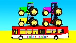 COLOR Tractor on Bus & Spiderman Cars Cartoon with Superheroes for kids and babies!