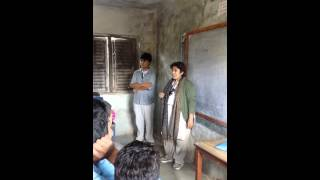 Gita didi giving a speech to the students of 10