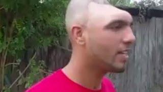 Half Head Man's Mug Shot And Interview