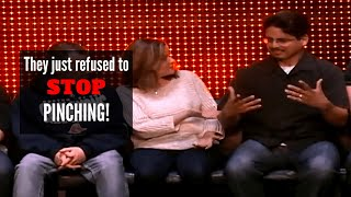 Hypnotized guys refuse to stop touching a woman's ass!