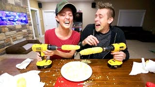 CRAZY CORN ON A DRILL CHALLENGE!!