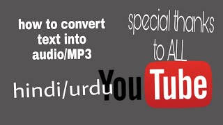 how to convert text into audio/MP3. Urdu/hindi.