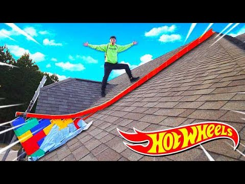 100FT HOT WHEELS RAMP OFF MY ROOF