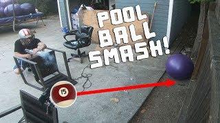 Pool Ball Smash Part 2!! (BROKE THE FENCE)
