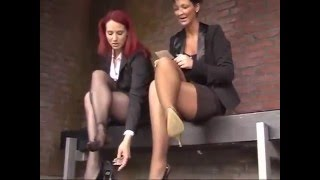 SEXY SHOE PLAY | Two Young Business Girl Foot