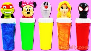 Learn Colors Finger Family Song Nursery Rhymes Spiderman Disney Minnie Mouse Slime Toy Surprises