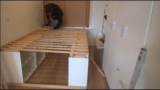 DIY freestanding bed with lots of (cosplay) storage