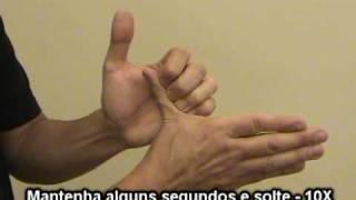 Exercícios de alongamento e fortalecimento das mãos.
