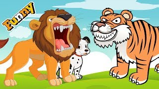 Funny Animals Cartoons Compilation Just for Kids – Dog Go To School and Lion Attacks Tiger