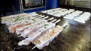 Grill of Halloumi Cheese and Chicken Skewers. London Street Food From Greece and Cyprus