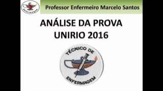 Análise da prova UNIRIO 2016 - Téc  Enf