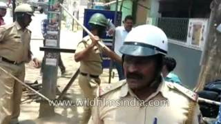 Provident Fund protest in Bangalore - riot police out in full force