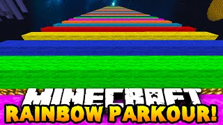 Minecraft RAINBOW SPEED PARKOUR! (Extreme Rainbow Road) - w/PrestonPlayz, PeteZahHutt & Kenny!