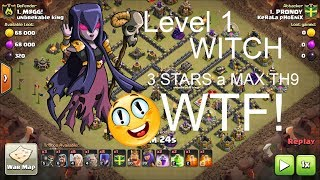Can Level 1 Witch  Three star a max! TH9?  3 stars  Attack Strategy For TH9