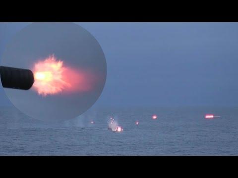 CIWS Gatling Gun & Mk 38 Chain Gun Open Fire On Small Boats