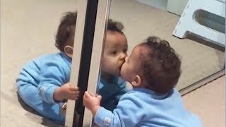 Funny babies vs mirror - Try not to laugh challenge