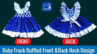 Baby Frock Ruffled Front & Back Neck Design
