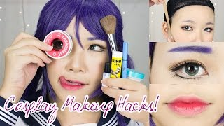 8 Cosplay Makeup Hacks EVERYONE Should Know! | Face Taping, Brow Concealing, Anime Lips