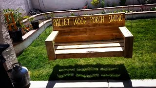 Porch swing made from old pallet wood